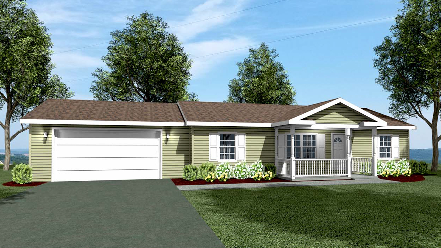 R001 Ranch Modular Home Model Rendering Front 01