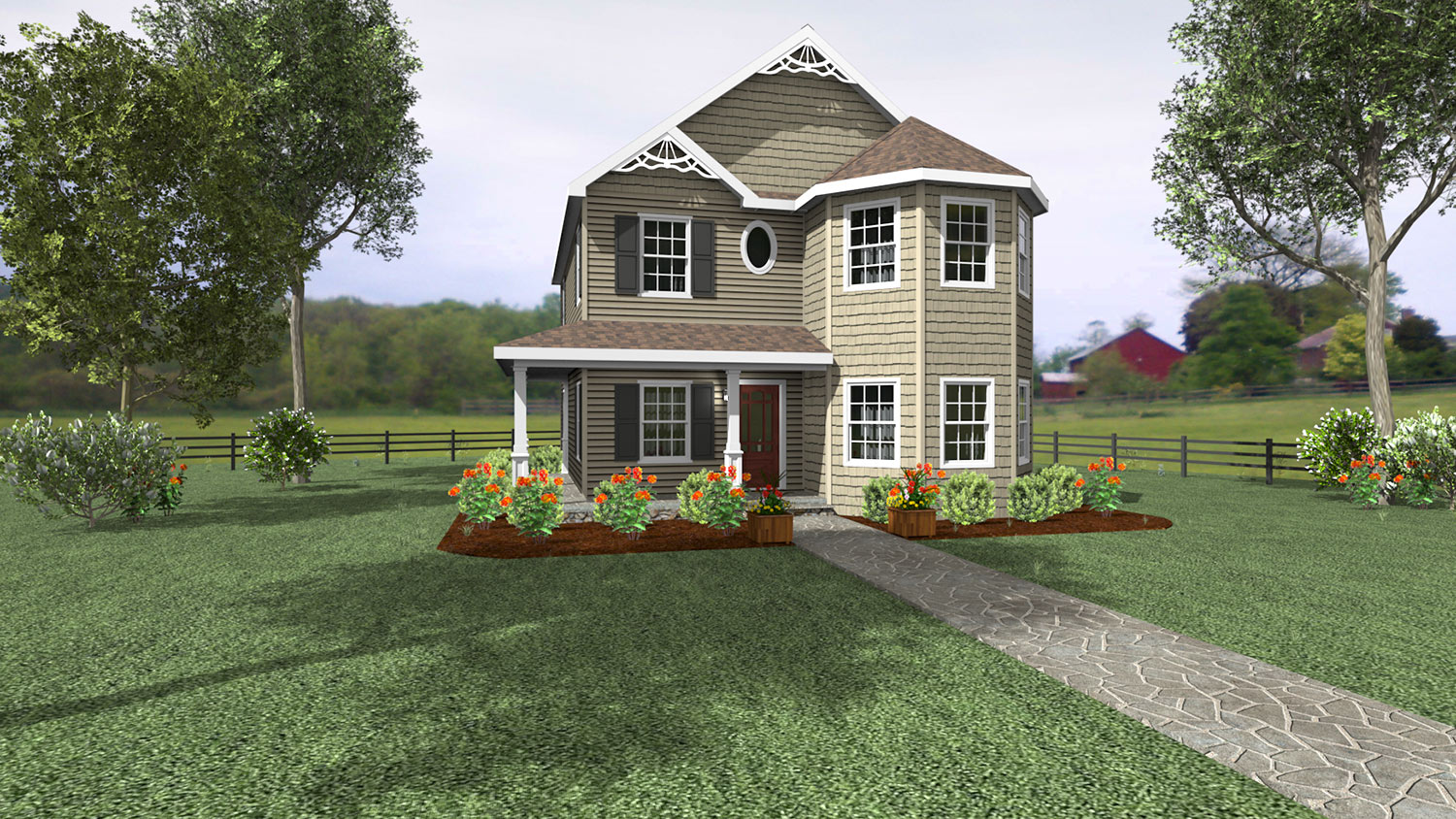 2S101 Glenco Inc Two Store Home Front Rendering
