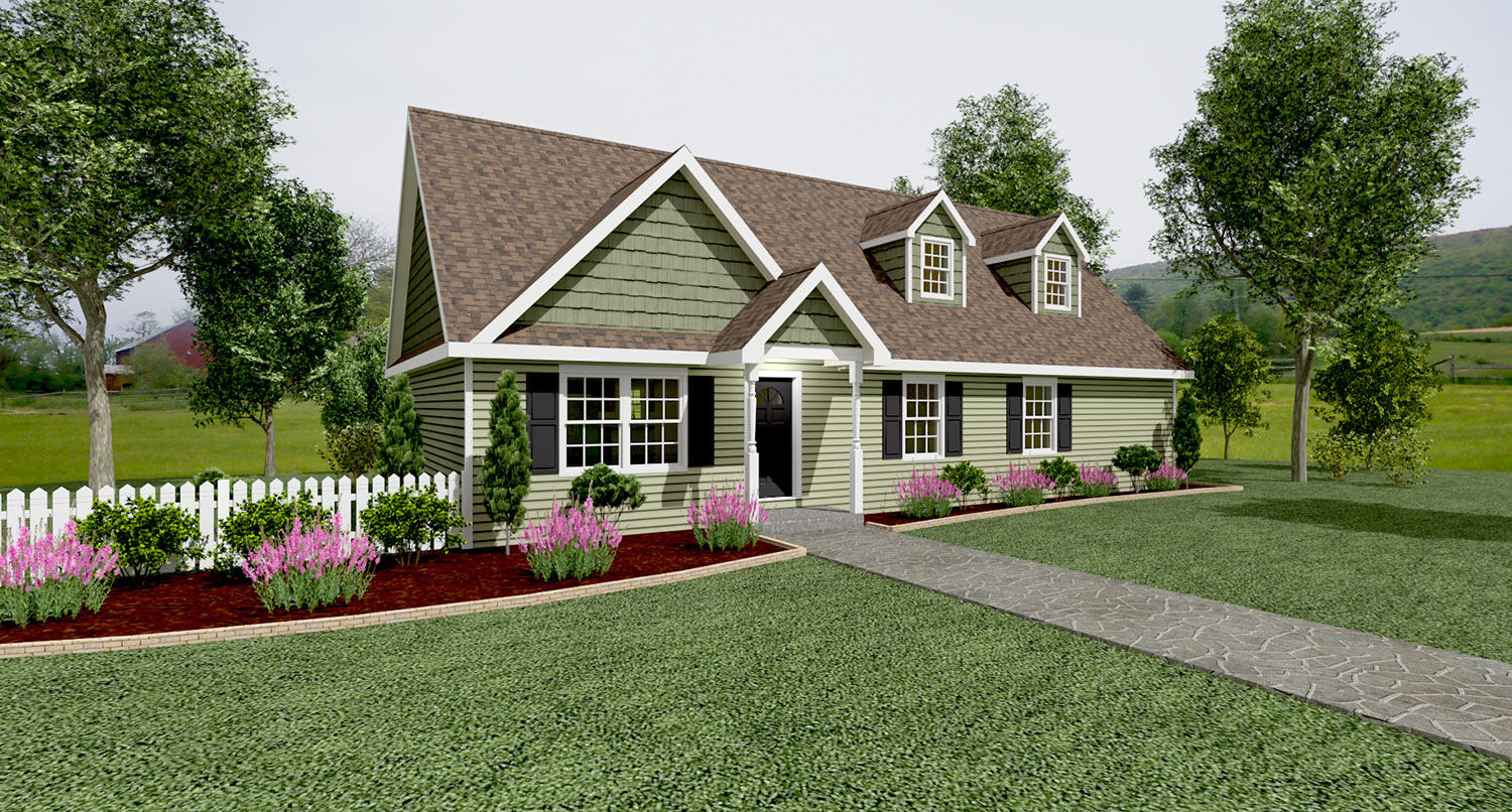 Cc201 cape cod home rendering glenco inc for Cape cod model homes
