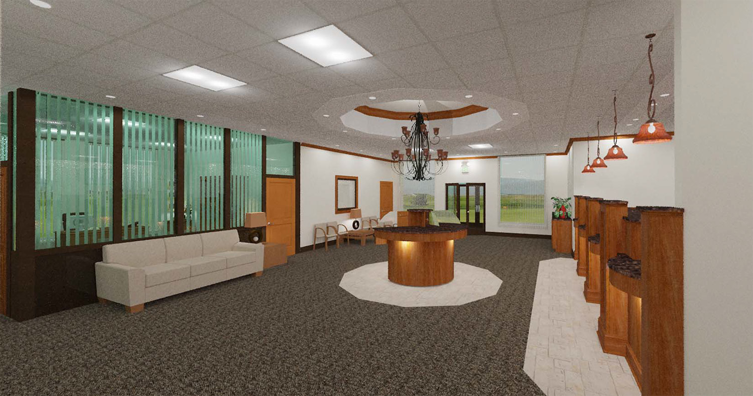 rendering of a bank interior designed by Glenco, Inc.
